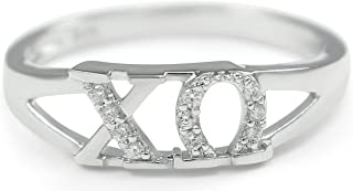 Chi Omega Sorority Sterling Silver Ring with Simulated Diamonds/Officially Greek Licensed