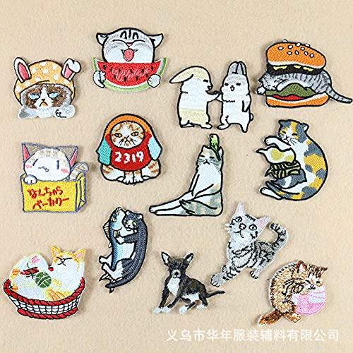 Patch Sticker,Parche termoadhesivo,Aplique de bordado adecuado para sombreros, chaquetas, abrigos, camisetas, serie gato 13 piezas
