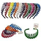CoverYourHair Plastic Headband with Teeth - 12 Hard Headbands - Bright Color Headbands