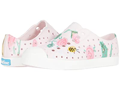 Native Kids Shoes Jefferson Print (Little Kid) (Milk Pink/Shell White/Bees and Flowers) Girls Shoes