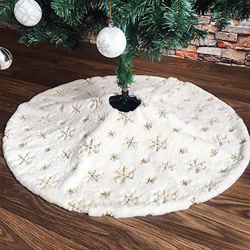 Baumdecke Weihnachtsbaum Rock Weiß Plüsch Tannenbaumdecke Weihnachtsbaumdecke Christbaumdecke Rund Teppich Baumrock Perfekt Weihnachtsdeko, um den Tannenbaumständer Abzudecken (Schneeflocke, 122cm)