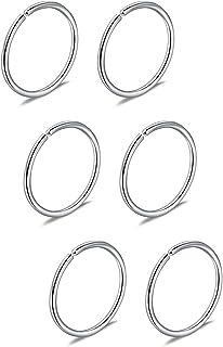 Briana Williams 6 Pezzi Anello Naso Finto Cerchio setto Trago cartilagine orecchino con Cerchio 22G 20G 18G 16G 6/8/10/12m...