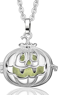 Harmony Bola Halloween Pumpkin Lantern Pendant Silver Plated Angel Caller Chime 30'' Necklace