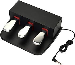 ATNEDCVH Pédale de sustain pour piano 3, triple amortisseur 6,35 mm, prise universelle pour claviers électroniques et pian...