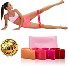Boostify Bands | Premium Matte Resistance Loop Bands | Peach Set of 4 with Carrying Bag | Exercise Fitness Booty Bands for Legs and Glutes | Physical Therapy, Stretch, Elastic, Strength, Home Workout