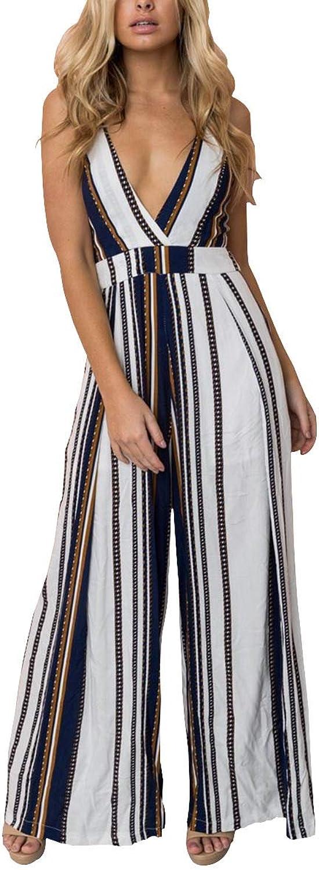 CA Mode Women's Floral Print Deep V Neck Strap Wide Leg Party Jumpsuit Rompers Long Pants