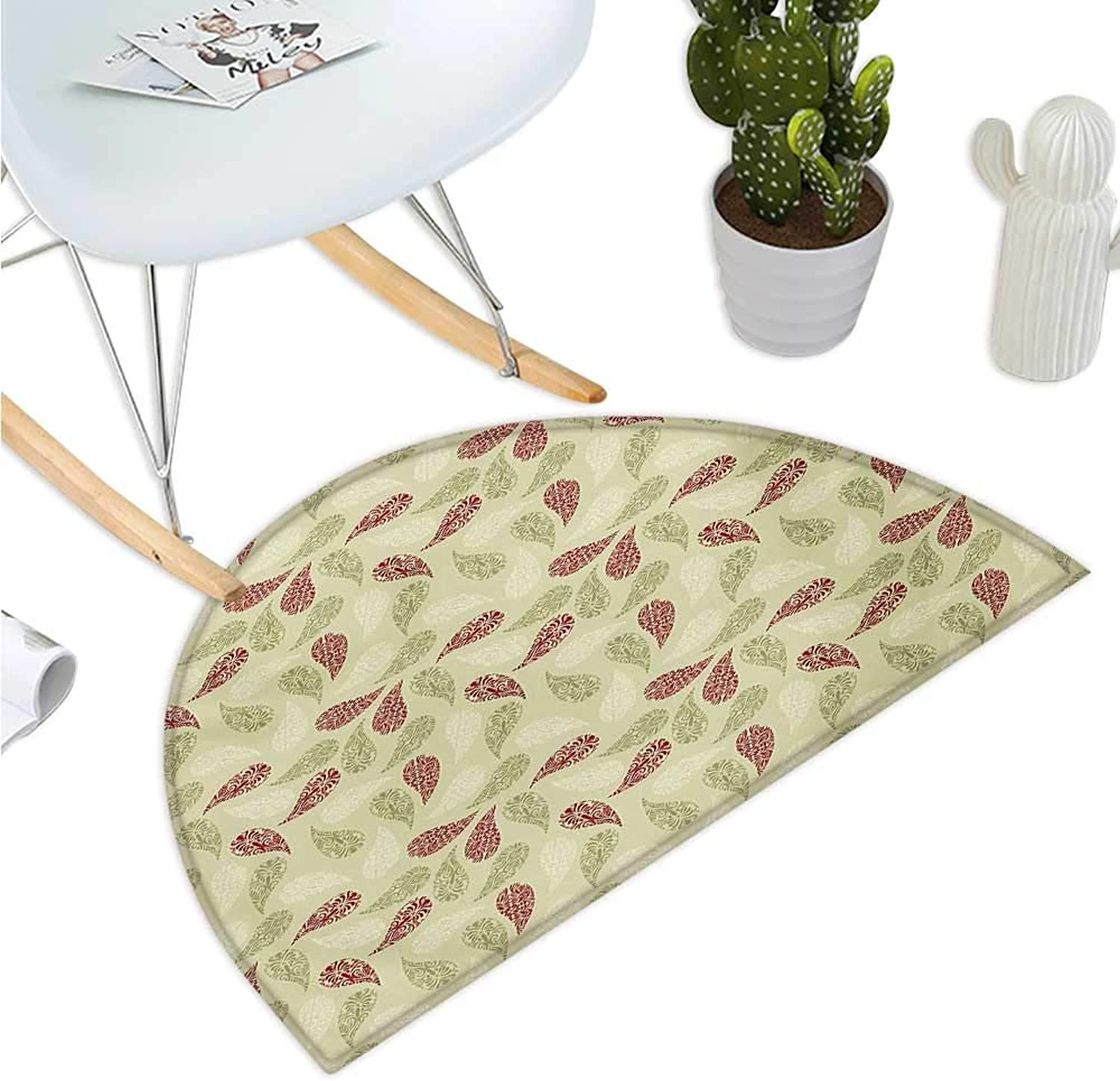 Paisley Semicircular Cushion Modern Design with Floral Like Patterns on The Leaf Like Shapes Print Entry Door Mat H 35.4  xD 53.1  Red and Pale Green