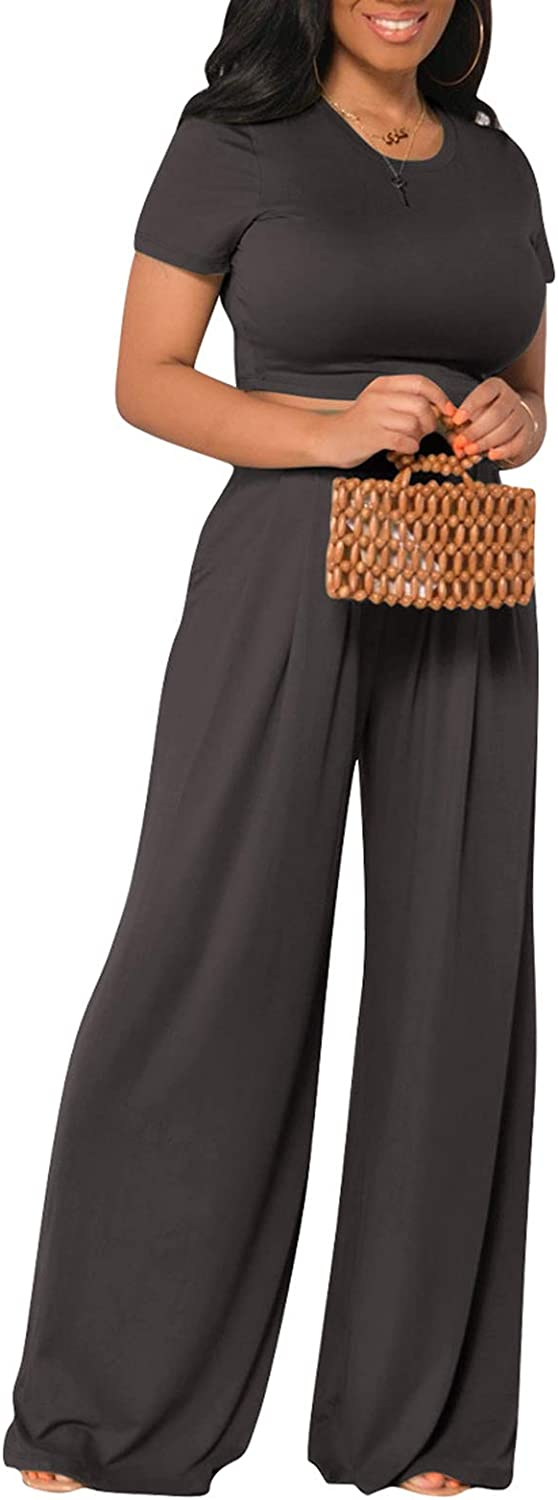 Women Solid 2 Piece Crop Shirt Long High Excellence Trousers Rise Excellent Palazzo S