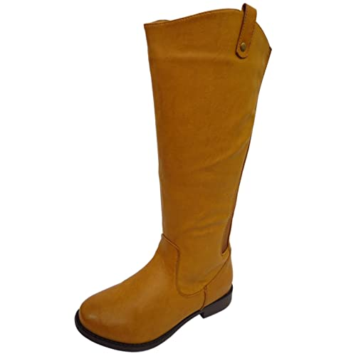 751c596dd68 Ladies Tan Extra Wide Calf Wide-Fit Biker Knee-High Riding Cowboy Boots UK