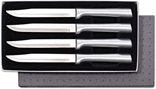 Rada Cutlery 4-Piece Utility Knife Set Stainless Steel Steak Knives with Brushed Aluminum Made in USA, 8-5/8 Inches, Silver Handle