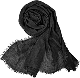 Women Soft Cotton Hemp Scarf Shawl Long Scarves, Travel Sunscreen Pashmina Fancy Stylish Hijab Scarf Lightweight Warm Big Head Scarves Muslin Pure Color (Black)