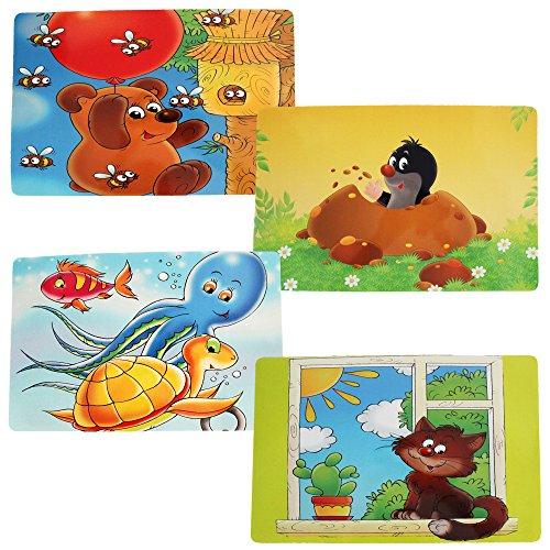 com-four® 4x Platzsets für Kinder, Tisch-Set mit verschiedenen Motiven, 44 x 28 cm (04 Stück - 44x28cm Kindermotive 2)