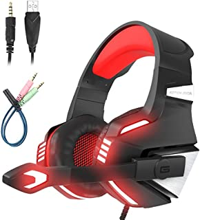 Mengshen Gaming Headset - with Microphone, Noise Isolation, Volume Control, LED Light Compatible with PS4 Xbox One Laptop ...