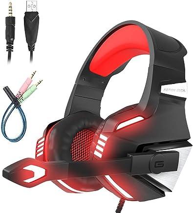 Mengshen Cuffie Gaming PS4 - Cuffie da Gioco con Microfono, Stereo Bass, Controllo del Volume e LED per PlayStation 4 Xbox One PC Nintendo - G7500 Red - Trova i prezzi più bassi