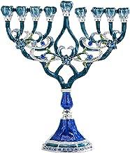 Fenteer Menorah Candle Holder Handpainted Judaica Candelabra Geometric Style Home Classic Decor Centerpieces - B