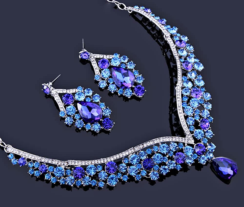 White Gold Plated Rhinestone V-Shaped Teardrop Statement Necklace and Earrings Bridal Wedding Jewelry Set
