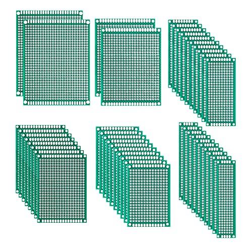 Placa de Circuito Impreso Perforadas Doble Cara Placas de Prototipos 2x8 3x7 4x6 5x7 6x8 7x9 cm para Soldadura Bricolaje Proyecto Electrónico 42 Piezas