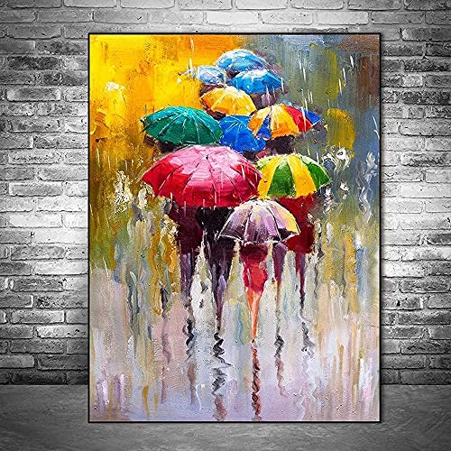ZHANGFAN Resumen Retrato Pinturas al óleo Impresas en Lienzo Impresiones artísticas Muchacha Que sostiene el Paraguas 30_x_45_cm (sin Marco)