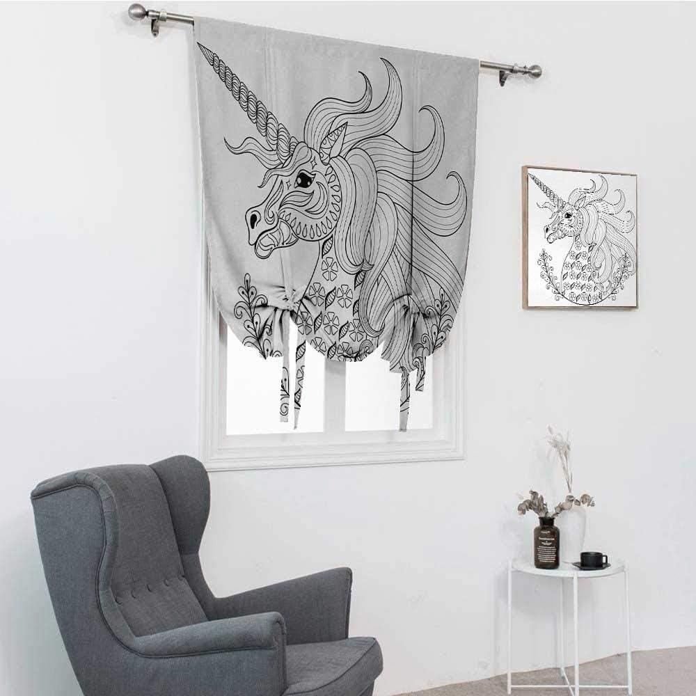 GugeABC Black and White Roman Window Shades, Fantasy Animal Unic