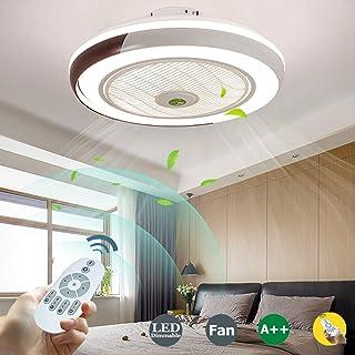 Ventilador De Techo Con Luz Iluminación Luz LED Velocidad De Viento Ajustable Regulable Con Mando Distancia 60W Lámpara De Techo Moderna Para Dormitorio Sala De Estar Habitación Infantil,Marrón