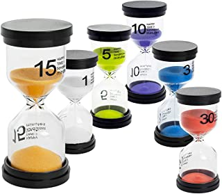 UltraOutlet 6-Pack Hourglass Timer Sand Timers Clock 1min/ 3mins/ 5mins/ 10mins/ 15mins/ 30mins Sand Glass Timers for Kids, Classroom, Game, Brushing Timer, Kitchen, Home, and Office Decorations
