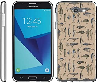 TurtleArmor | Compatible with Samsung Galaxy J7 2017 Case | J7 Prime | J7 Sky Pro [Flexible Armor] Resistant Slim Fit Flexible TPU Case Soft Bumper Cover Sports and Games - Fishing Hooks