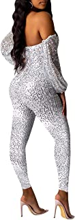 Women Sexy Sparkly Glitter Off Shoulder Long Sleeve Bodycon Romper Club Jumpsuits for Women