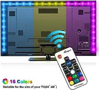 Tiras LED Iluminación 200cm, Reignet Tira de LED para HDTV de 40-60 pulgadas. Retroiluminación de TV Impermeable 5050 SMD RGB Tira LED Kit Completo de Mando a Distancia 17 Teclas