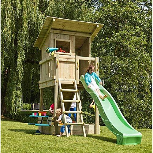 | MASGAMES | Parque infantil BEACH HUT XL | con Challenger: columpio con pared de escalada y red de escalada | Altura plataforma casita de 150 cm | Anclajes incluidos | Uso doméstico |