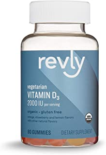 Amazon Brand - Revly Vitamin D3, 2000 IU per Serving (2 Gummies), 80 Gummies, Supports Strong...