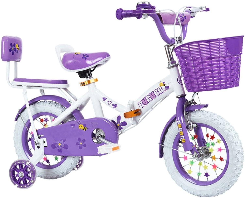 QXMEI Fahrrad Kinder Leicht Zu Falten Portable 2-3-6-8 Jahre Alt Die Kohlenstoffstahl Material 14 12 16 18 Zoll Mdchen Fahrrad,lila+Backrest-12Inches