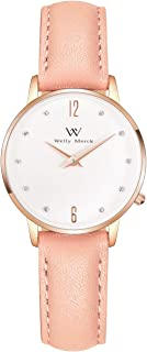 Welly Merck Women Pink Watch Swiss Quartz 26mm with Italy Genuine Leather Interchangeable Strap 50M Water Resistant