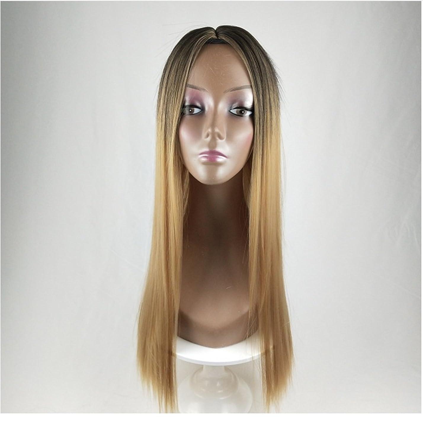 突進なめらか前述のDoyvanntgo 合成ロングストレートヘアウィッグカラーグラデーションフルウィッグ女性のためのロングバンズ耐熱ウィッグロングウィッグコスプレ/パーティー (Color : Black Gradient Linen Yellow)