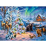 DIY Oil Paint by Numbers for Adults and Kids Christmas Tree and Animals Oil Painting Kit Acrylic for Adults Kids,Arts Craft for Home Wall Decor 40x50cm