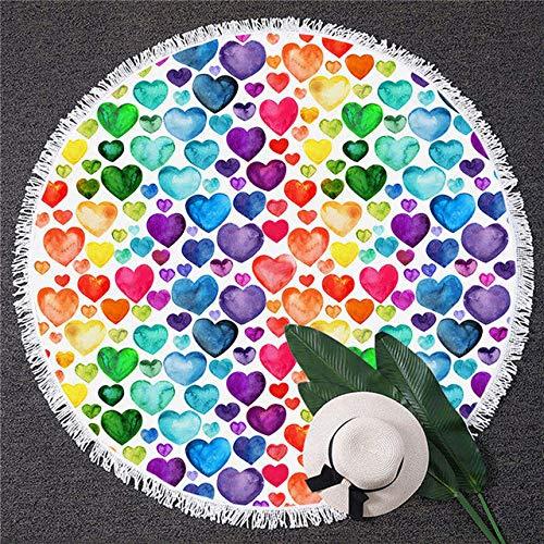 BSSDG Toalla Playa Corazón Colorido Toallas de baño Primavera Floral Toalla Redonda Acuarela Playa Mat Rainbow Raindrop Flower Dropship, 1, diámetro 150 cm