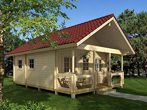 *Ferienhaus F9 inkl. Fußboden – 70 mm Blockbohlenhaus, Grundfläche: 34,50 m², Satteldach*