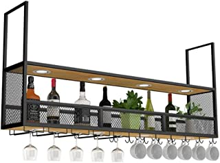 Wall Mounted Wine Racks Wood Black | Ceiling Hanging Wine Holder Metal | Cube Suspended Wine Bottle Holder | Wood Floating...