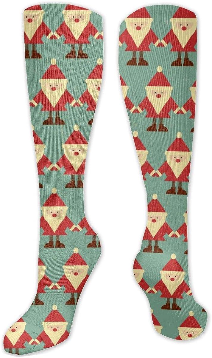 Retro Santa Claus Knee High Socks Leg Warmer Dresses Long Boot Stockings For Womens Cosplay Daily Wear