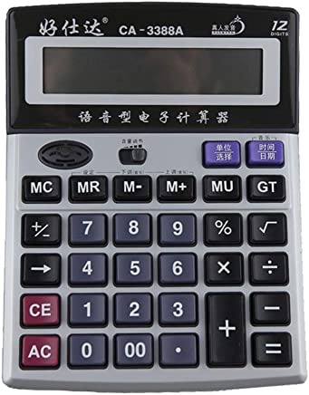 $36 » electronics Desktop Large Voice Calculator, Student/Office/Financial Big Button 12-Digit Digital Display Currency Calculator, Commercial Standard Function Desktop Calculator