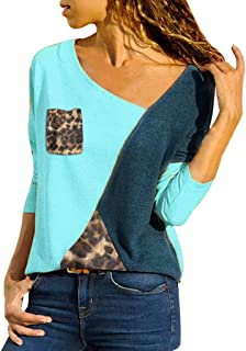 Pgojuni Plus Size Women Asymmetric Neck Patch Pocket Color Block Leopard T-Shirts