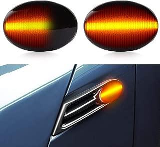 LED Side Marker Turn Signal Light, Car Work Box Black Smoked Lens Amber Side Marker Lights for BMW Mini Cooper 2007-2013 R56 R57 R57 R58 R59 (1 Pair)