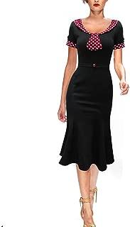REMASIKO Womens Vintage 1950s Elegant Polka Dot Bow-Knot Cocktail Party Dress