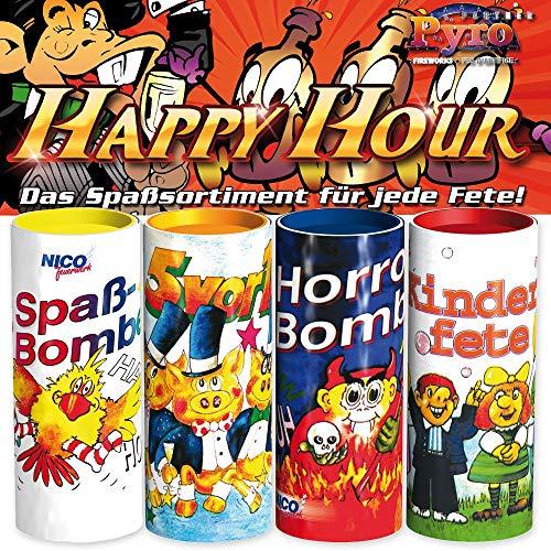 Nico Silvester Tischfeuerwerk Set 4-TLG.: Tischbomben mit Konfetti und Überraschungsinhalt - Partyknaller Feuerwerk Happy Hour