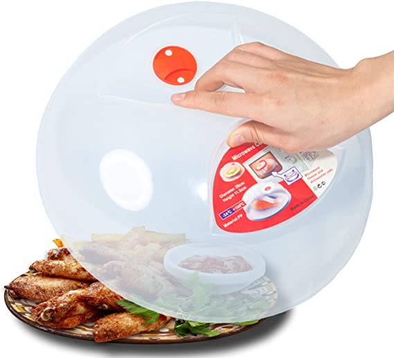 Large Microwave Plate Cover Easy Grip Microwave Splatter Guard Lid With Steam Vent and BPA Free & 11.5 Inch
