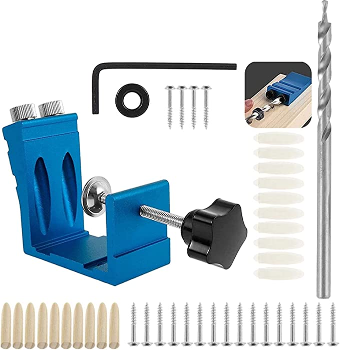 Wood Double Pocket Hole Jig Kit Mini Pocket Hole Jig Kit Wood Locator Pocket Hole Drilling Jig Hole Drilling Template Holes Woodworking Step Drill Set for Screw Drill