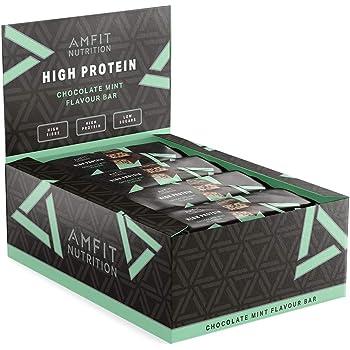 Marchio Amazon- Amfit Nutrition Barretta proteica a basso contenuto di zuccheri (19,8gr proteine - 0,9gr zucchero) - cioccolato alla menta - Confezione da 12 (12x60g)