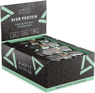 Marca Amazon- Amfit Nutrition Barrita de proteínas sabor a chocolate y menta, pack de 12 (12x60g)