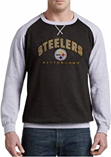 Majestic Pittsburgh Steelers NFL Mens Raglan Fleece Crew Sweatshirt Big    Tall Sizes 36d67c49f