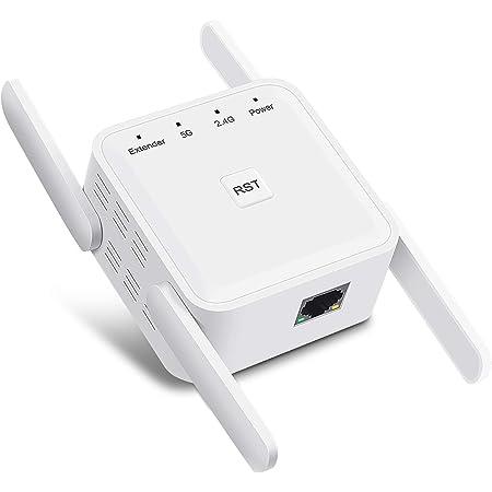 Repetidor WiFi Amplificador Señal WiFi 1200Mbps 5GHz y 2,4GHz,Amplificador WiFi Extender WiFi Booster con Puerto Gigabit Ethernet, 4 Antenas, Admite ...