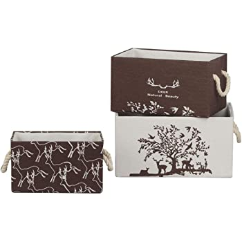 Dingshi Set 3 Cajas de Almacenaje Decorativas, Cajas de Tela Originales para hogar, Dormitorio, baño, Cestas con manillas para armarios, estanterías, Juguetes, Ropa y más: Amazon.es: Hogar